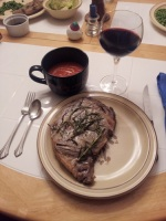 Steak, Gazpacho and Wine